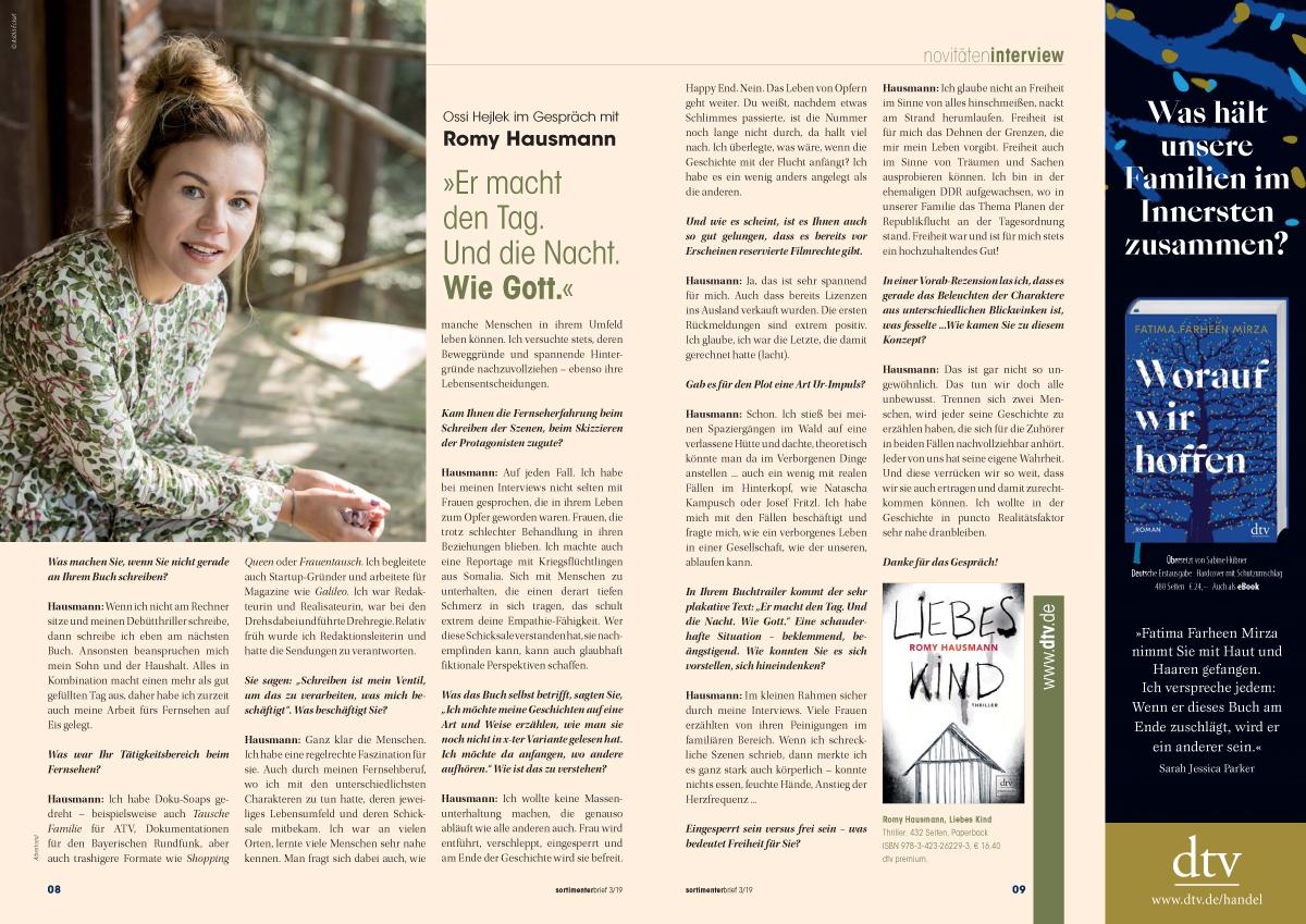 Beispiel Autoren-Interview Doppelseite inkl. Drittelanzeige