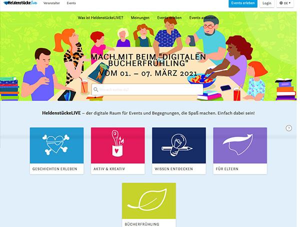 Screenshot der Startseite von HeldenstückeLIVE